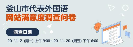 釜山市代表外国语 网站满意度调查问卷  调查日期 : 20. 11. 2. (周一) 上午 9:00~20. 11. 20. (周五) 下午 6:00
