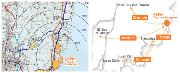 Location Map of the East Busan Tourism Complex