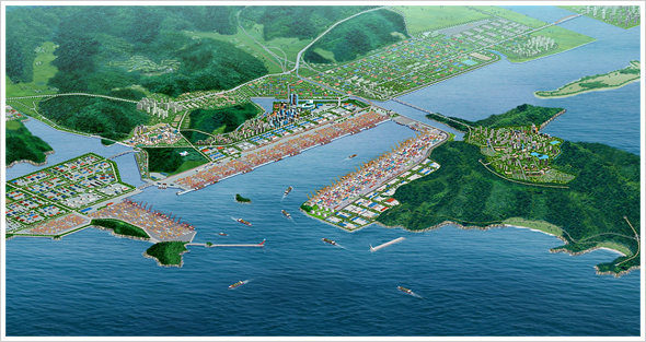 Bird's-eye view of Busan New Port photo